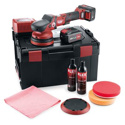FLEX XFE 15 150 18.0-EC/5.0 P-Set Cordless Random orbital Polisher 2 x 5.0Ah Batteries + Accessories