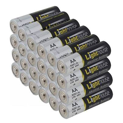 Lighthouse AA Batteries Bulk Pack of 24