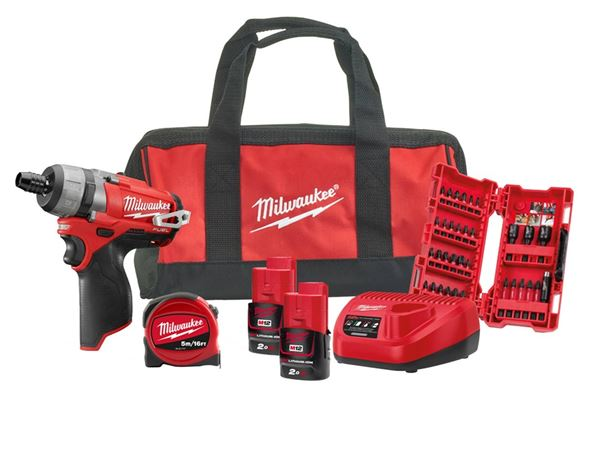 Milwaukee Power Tools M12SET1F-202B 12v Screwdriver Kit 2 x 2ah Li Ion Batteries