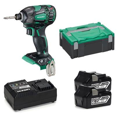 HiKOKI WH18DBDL2JXZ 18 Volt Impact Driver With 2 x 6.0Ah Batteries And Charger
