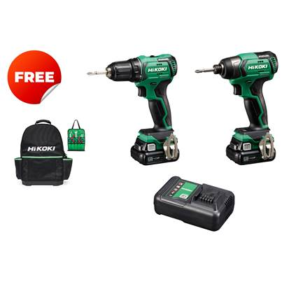 HiKOKI DV12DD 12V Peak Brushless Combi Drill With 2 x 4.0Ah batteries And Charger Plus A Free WH12DD Impact Driver And Free Hikoki Hard Bottom Back Pack