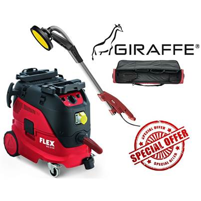 FLEX GE5 + TB-L 110v Giraffe Wall And Ceiling Sander With Safety Dust Extractor VCE 33 M AC And Kit Bag