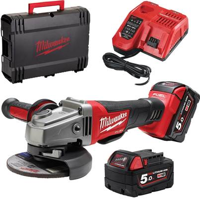 Milwaukee Power Tools M18CAG115XPDB-502X 18V Fuel 115mm Brushless Angle Grinder with 2 x 5.0Ah Batteries