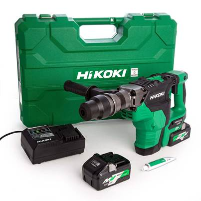 HiKOKI DH36DMA/JAZ 36V MultiVolt Brushless Rotary Hammer SDS Max with 2 x 4.0Ah/8.0Ah Multi Volt Batteries