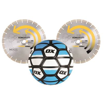 Ox OX TRADE CONCRETE / GENERAL PURPOSE 300MM DIAMOND BLADE TWIN PACK WITH FREE FOOTBALL