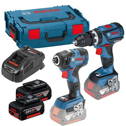 Bosch GSB18V-60 GDR 18 V-200 C Twin Kit 2 X 5.0ah in L-boxx